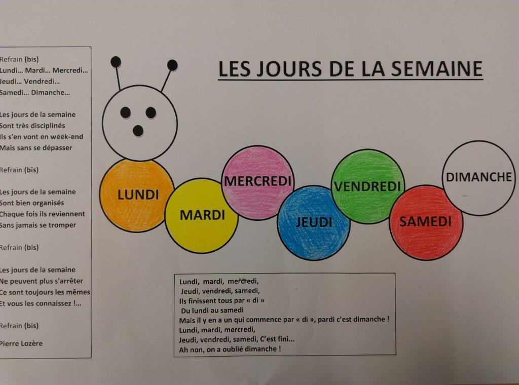 Les jours de la semaine en couleurs - Ecole Sacré Coeur St Paul en Pareds